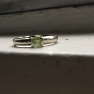 Tiffany & Co Sterling Peridot Stacking Ring sz 8.5